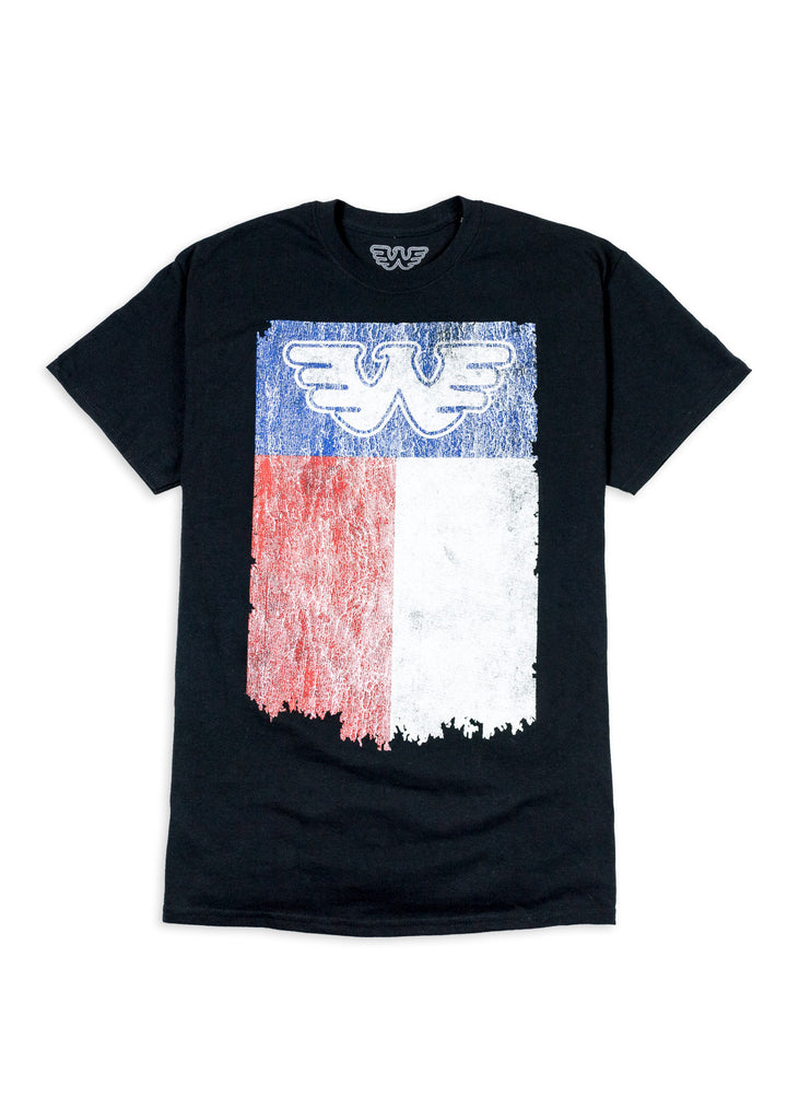 Texas Flag Waylon Jennings Mens Tee Shirt - Black