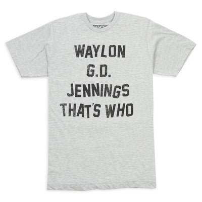 Waylon G.D. Jennings Heather Grey Mens Tee Shirt - Men's Tee Shirt - Waylon Jennings Merch Co.