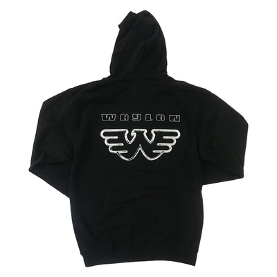 Waylon Jennings Black on Black Flying W Logo Pullover Hoodie - Men's Tee Shirt - Waylon Jennings Merch Co.