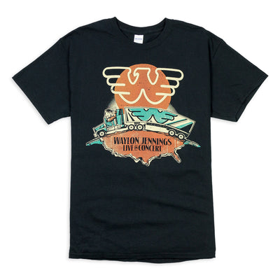 Waylon Jennings Live In Concert Mens Tee Shirt - Men's Tee Shirt - Waylon Jennings Merch Co.