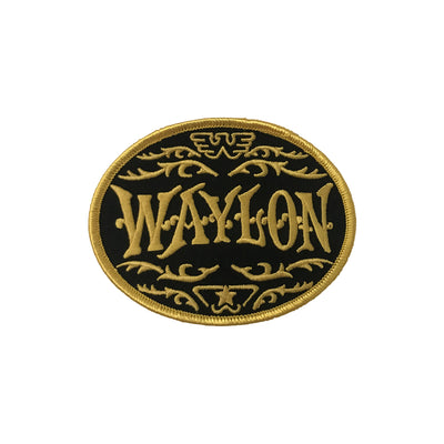Waylon Jennings Flying Oval Logo Patch (Gold) - Accessories - Waylon Jennings Merch Co.