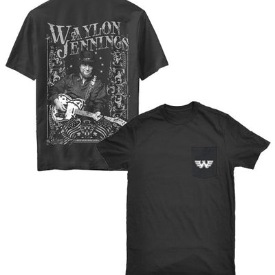 Waylon Jennings Telecaster Photo Men's Pocket Tee Shirt - Men's Tee Shirt - Waylon Jennings Merch Co.