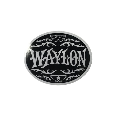 Waylon Jennings Oval Sticker (Silver) - Stickers - Waylon Jennings Merch Co.