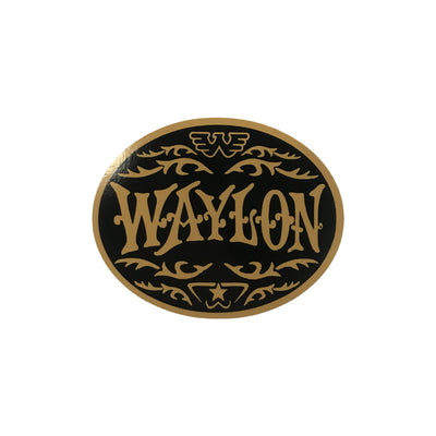 Waylon Jennings Oval Sticker (Gold) - Stickers - Waylon Jennings Merch Co.