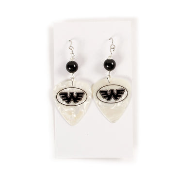 White Flying W Pick Earrings - Accessories - Waylon Jennings Merch Co.
