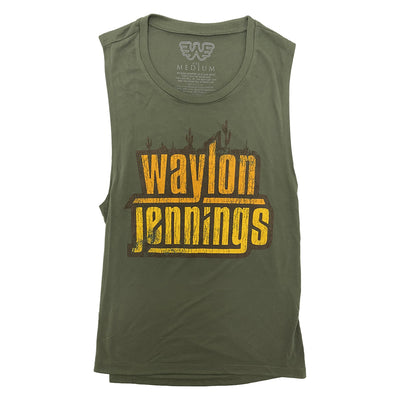 Waylon Jennings Cactus Womens Muscle Tank - Women's Tee Shirt - Waylon Jennings Merch Co.