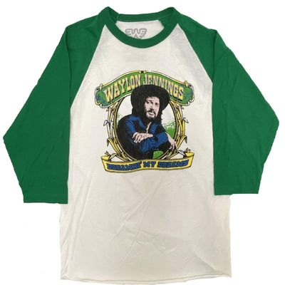 Dreamin' Waylon Jennings Mens Raglan Shirt