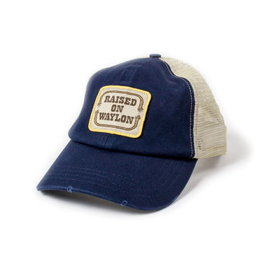 Raised on Waylon Jennings Distressed Navy Trucker Hat - Accessories - Waylon Jennings Merch Co.