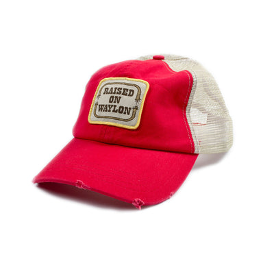 Raised on Waylon Jennings Distressed Red Trucker Hat - Accessories - Waylon Jennings Merch Co.