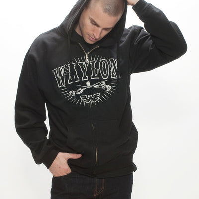 Waylon Jennings Americana Zip Up Hoodie - Men's Tee Shirt - Waylon Jennings Merch Co.
