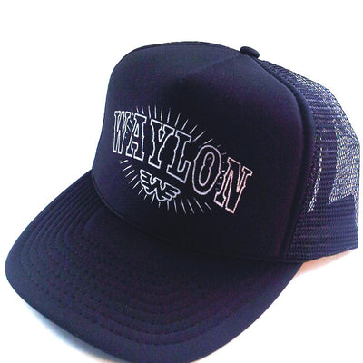Waylon Jennings Shining Flying W Symbol Americana Trucker Hat - Black - Accessories - Waylon Jennings Merch Co.