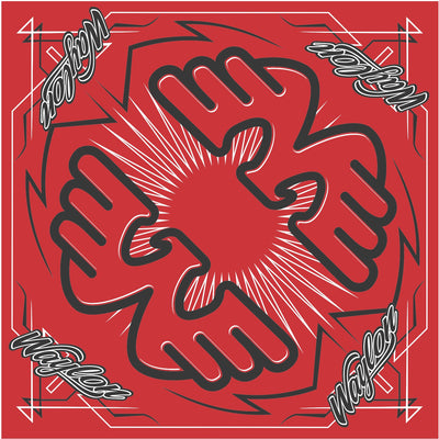 "22"" Waylon Jennings Red Double Flying W Bandana - Accessories - Waylon Jennings Merch Co."