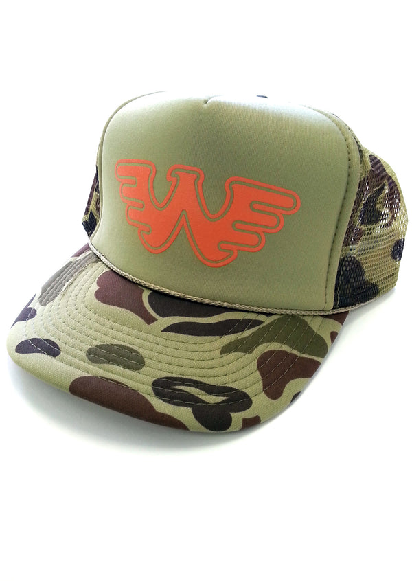 Waylon Jennings Flying W Symbol Trucker Hat - Olive Camo Waylon Jennings  Flying W Symbol Trucker Hat - Olive Camo 4219b5d4b9b