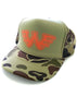 Waylon Jennings Flying W Trucker Hat - Olive Camo - Accessories - Waylon Jennings Merch Co.