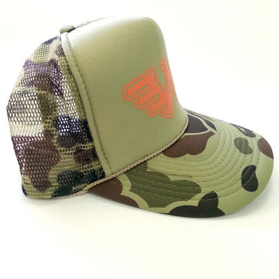 Waylon Jennings Flying W Symbol Trucker Hat - Olive Camo - Accessories - Waylon Jennings Merch Co.
