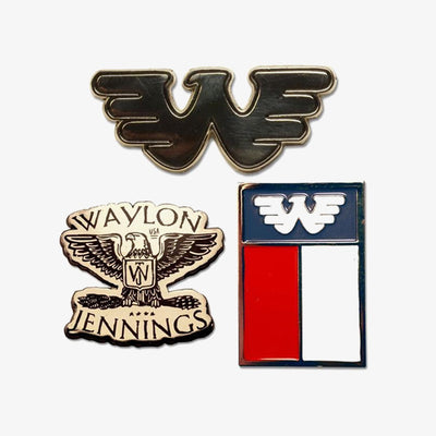 Waylon Jennings Flying W Texas Eagle Lapel Pin Set - Accessories - Waylon Jennings Merch Co.