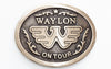 Waylon Jennings On Tour Antique Brass Belt Buckle - Accessories - Waylon Jennings Merch Co.