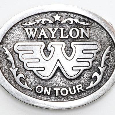 Waylon Jennings On Tour Antique Silver Belt Buckle - Accessories - Waylon Jennings Merch Co.