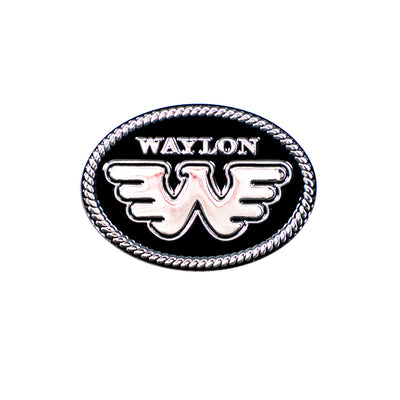 Waylon Flying W Black & White Pin