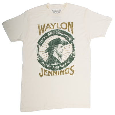 Waylon Jennings On'ry And Lonesome Distressed Print Tee Shirt -  - Waylon Jennings Merch Co.