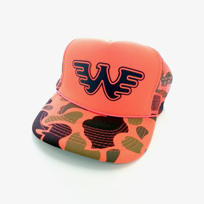 Waylon Jennings Flying W Symbol Trucker Hat - Safety Orange Camo - Accessories - Waylon Jennings Merch Co.