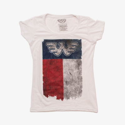 Waylon Jennings Flying W Texas Flag Women's Shirt - White - Women's Tee Shirt - Waylon Jennings Merch Co.