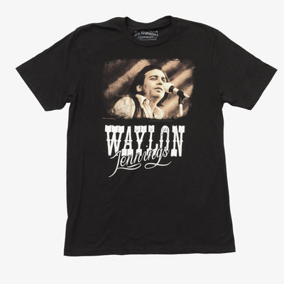Jim Marshall Waylon Jennings Picture Script Photo Tee - Men's Tee Shirt - Waylon Jennings Merch Co.