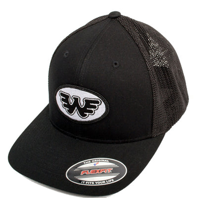 Flying W Oval Patch Waylon Jennings Flexfit Hat (Black) - Accessories - Waylon Jennings Merch Co.