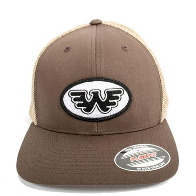 Waylon Jennings Flying W Oval Patch Flexfit Hat (Brown) - Accessories - Waylon Jennings Merch Co.