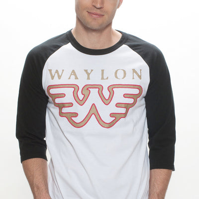 Waylon Jennings Flying W Baseball Tee - Men's Tee Shirt - Waylon Jennings Merch Co.
