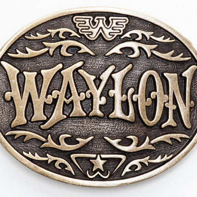 Waylon Jennings Western Antique Brass Belt Buckle - Accessories - Waylon Jennings Merch Co.