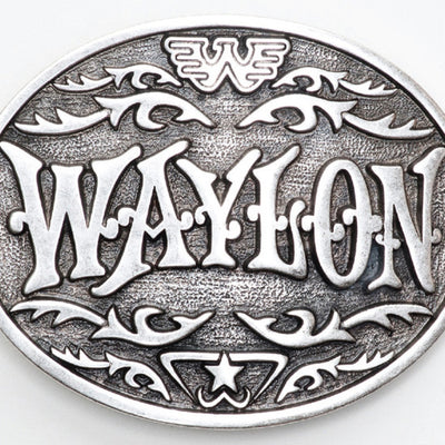 Waylon Jennings Western Antique Silver Belt Buckle - Accessories - Waylon Jennings Merch Co.