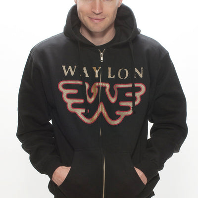 Waylon Jennings Flying W Zip-Up Hoodie - Men's Tee Shirt - Waylon Jennings Merch Co.