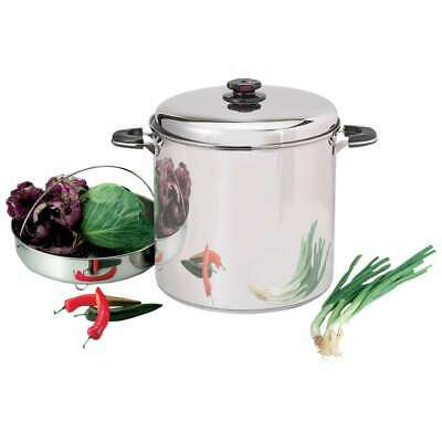 Precise Heat 30 qt 12 Element Waterless Stockpot with Steamer Basket Large