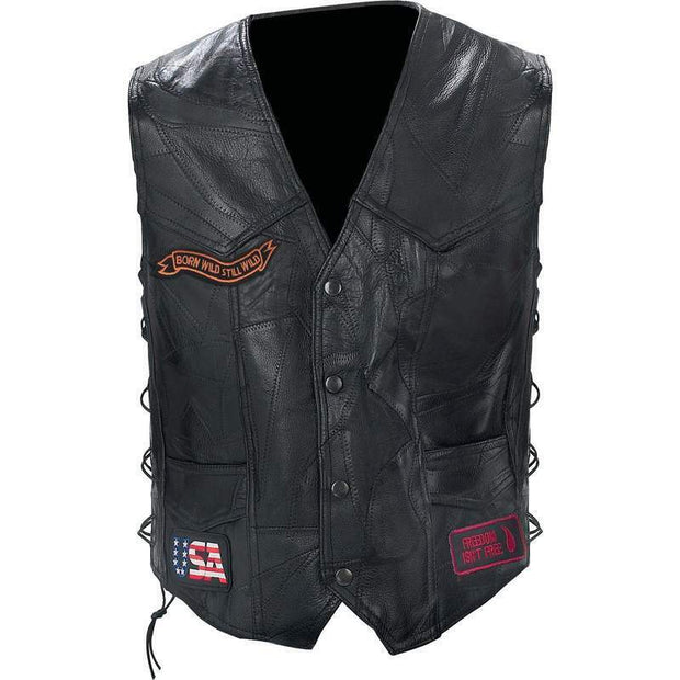 Maxam Diamond Plate Rock Design Genuine Buffalo Leather Biker Vest GFVBIKE