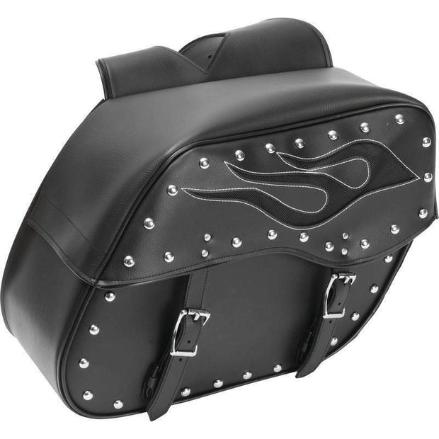 Diamond Plate 2pcs Motorcycle Saddlebag Set w/ Flame Design Weather Resistant
