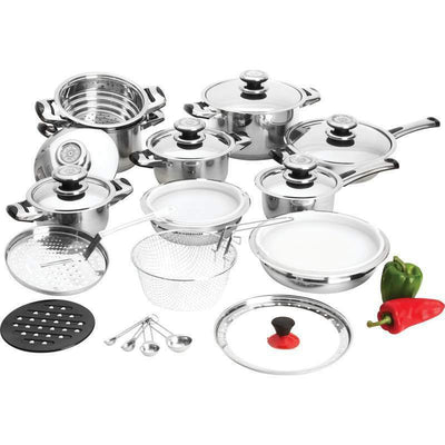Maxam 28 Pieces Stainless Steel Cookware Pan Set 12 Element Heavy Gauge KT28