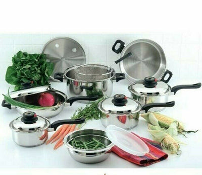 Chef's Secret 15 Pcs Stainless Steel Waterless Cookware Pan Set 12 Element T304