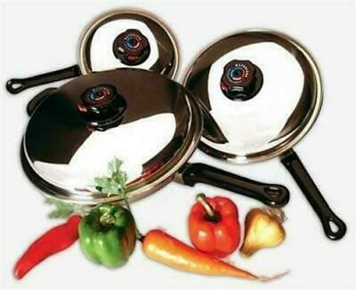 Precise Heat 6 Piece 12 Element T304 Stainless Steel Skillet Set Frying Pan Set