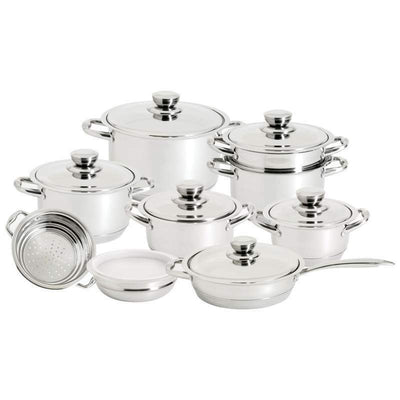 Royal King 16 Pieces 12 Element Stainless Steel Cookware Pan Set induction cook