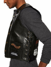 Diamond Plate Genuine Leather Biker Motorcycle Vest Eagle Us Flag 14 Patches Men