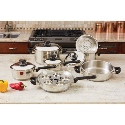Maxam 17 piece Stainless Steel Cookware Set T304 Pan Professional Series KT172