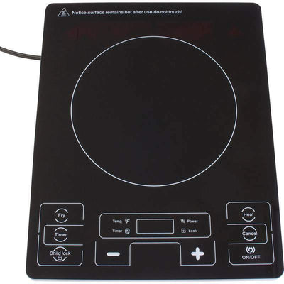 Precise Heat Countertop Flat Top Induction Cooker Hot Plate 1800W 14'' Black
