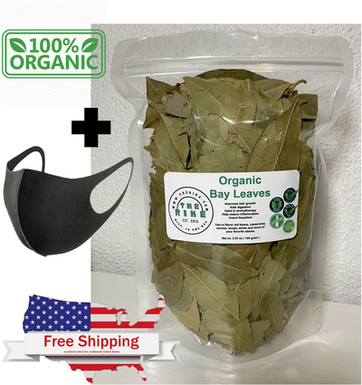 100 Grams (3.5 oz) Bay Leaves Organic Whole Bay Leaves Non-GMO Dried Kosher + FREE FACE MASK