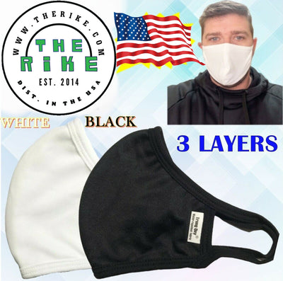 Antibacterial Face Mask Ag+ Silver Nano Washable Reusable Face Cover Water Repellent 2 & 3 Layers Black White