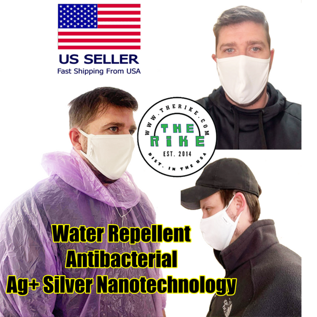 Face Mask Ag+ Silver Antibacterial Nano 2 Layers Reusable Breathable Water Repellent White