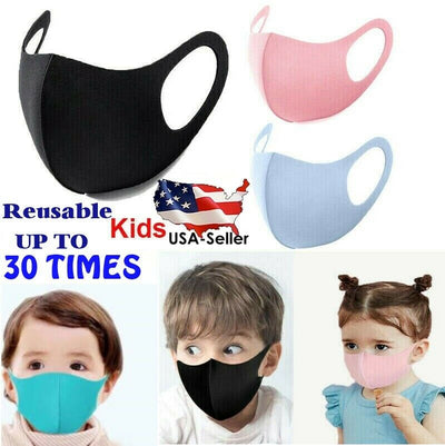 5-20 Pack Kids Antibacterial Face Mask Water Repellent Polyester Washable Reusable Face Cover For Children Color Options