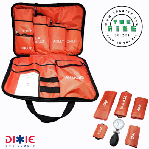 Dixie EMS 5 Cuffs Blood Pressure Aneroid Gauge Sphygmomanometer System Orange