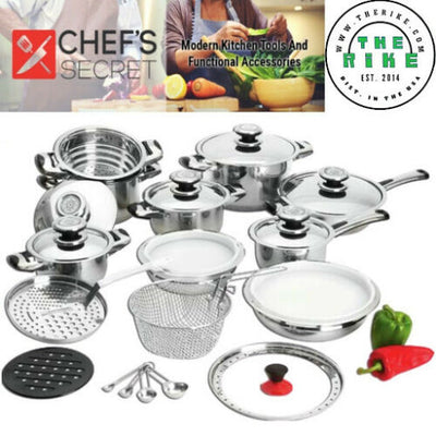 Chef's Secret 28 pieces 12 Element Waterless Stainless Steel Cookware Pan Set