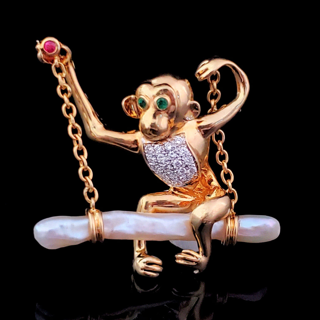Vintage Cheeky Monkey Brooch